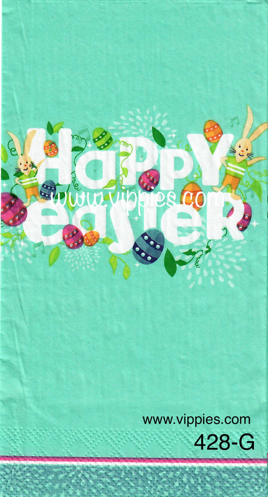 EAST-428 Happy Easter Turquoise Napkin for Decoupage