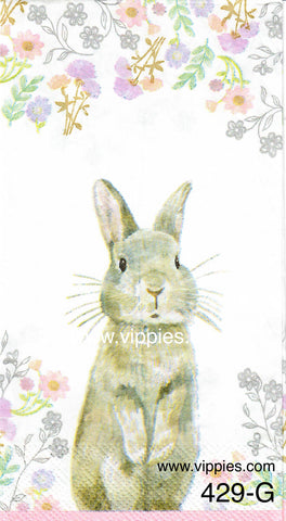 EAST-429 Gray Bunny Flowers Napkin for Decoupage