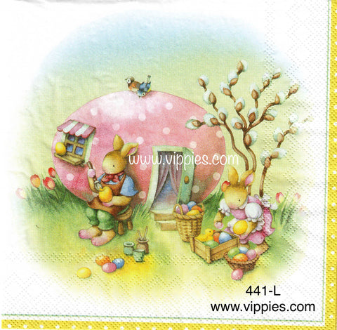 EAST-441 Easter Egg House Napkin for Decoupage