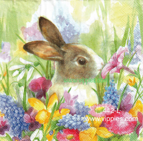 EAST-442 Real Bunny Flowers Napkin for Decoupage