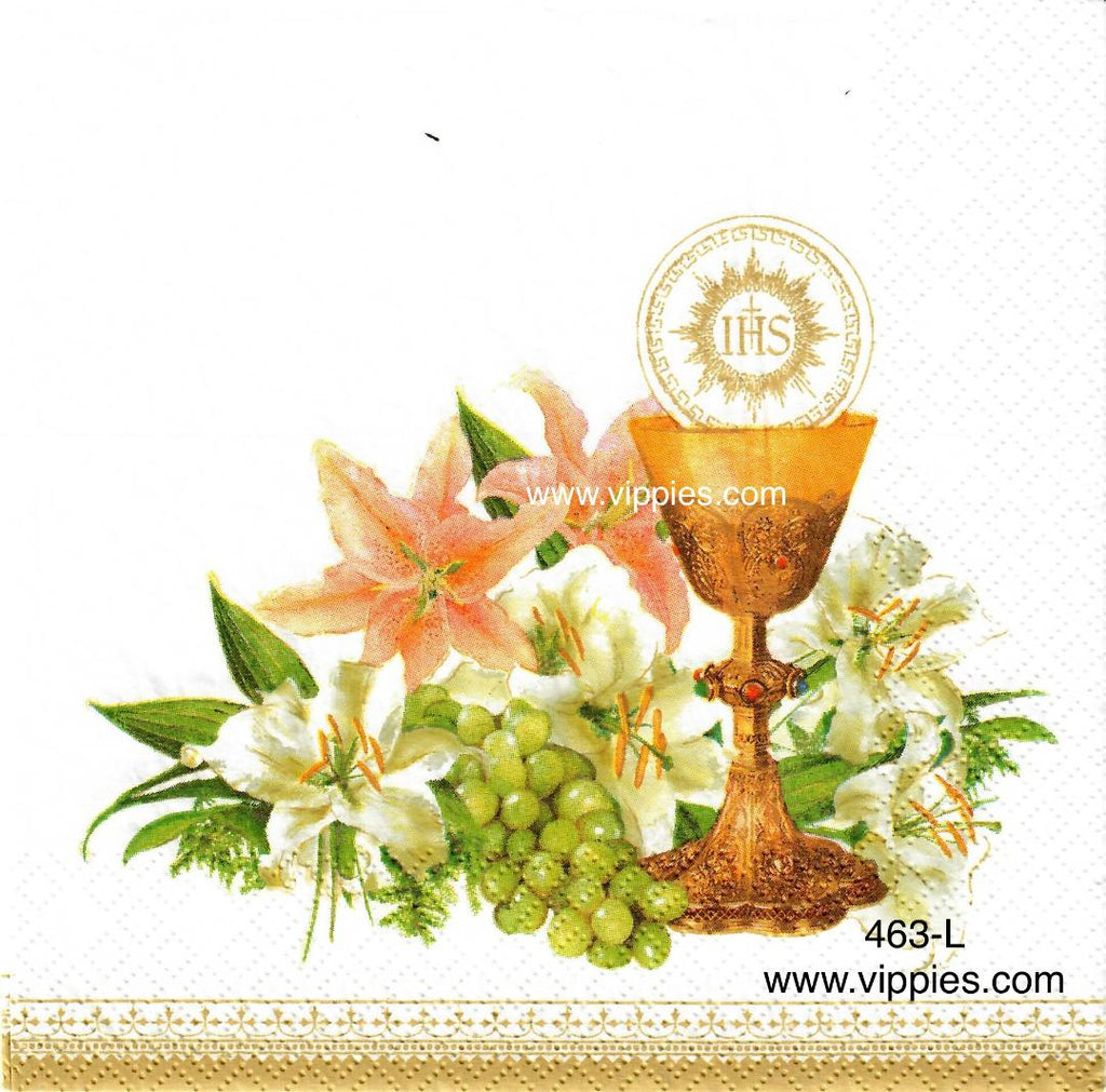 EAST-463 Chalice Lilies Grapes Napkin for Decoupage