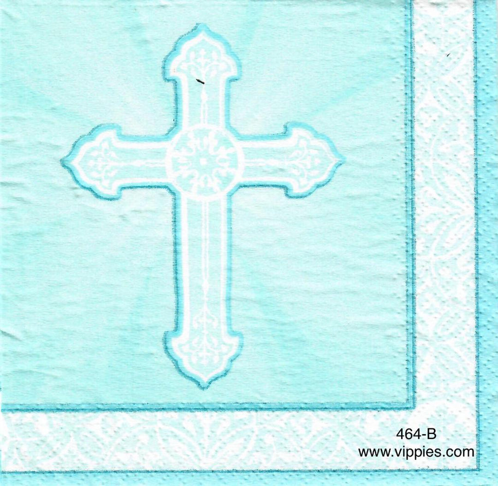 EAST-464 Radiant Cross Blue Napkin for Decoupage