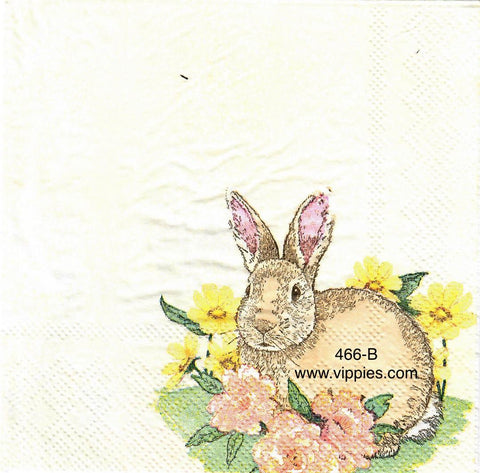EAST-466 Sitting Floral Rabbit Napkin for Decoupage