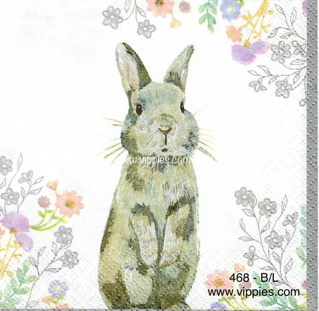 EAST-468 Standing Gray Bunny Napkin for Decoupage