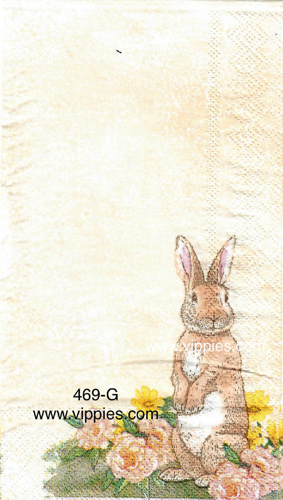 EAST-469 Standing Tan Bunny Guest Napkin for Decoupage