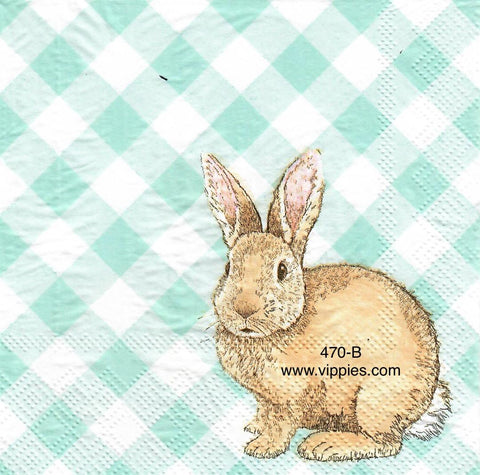 EAST-470 Gingham Bunny Napkin for Decoupage
