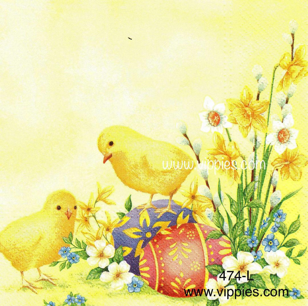 EAST-474 Chicks and Eggs Napkin for Decoupage
