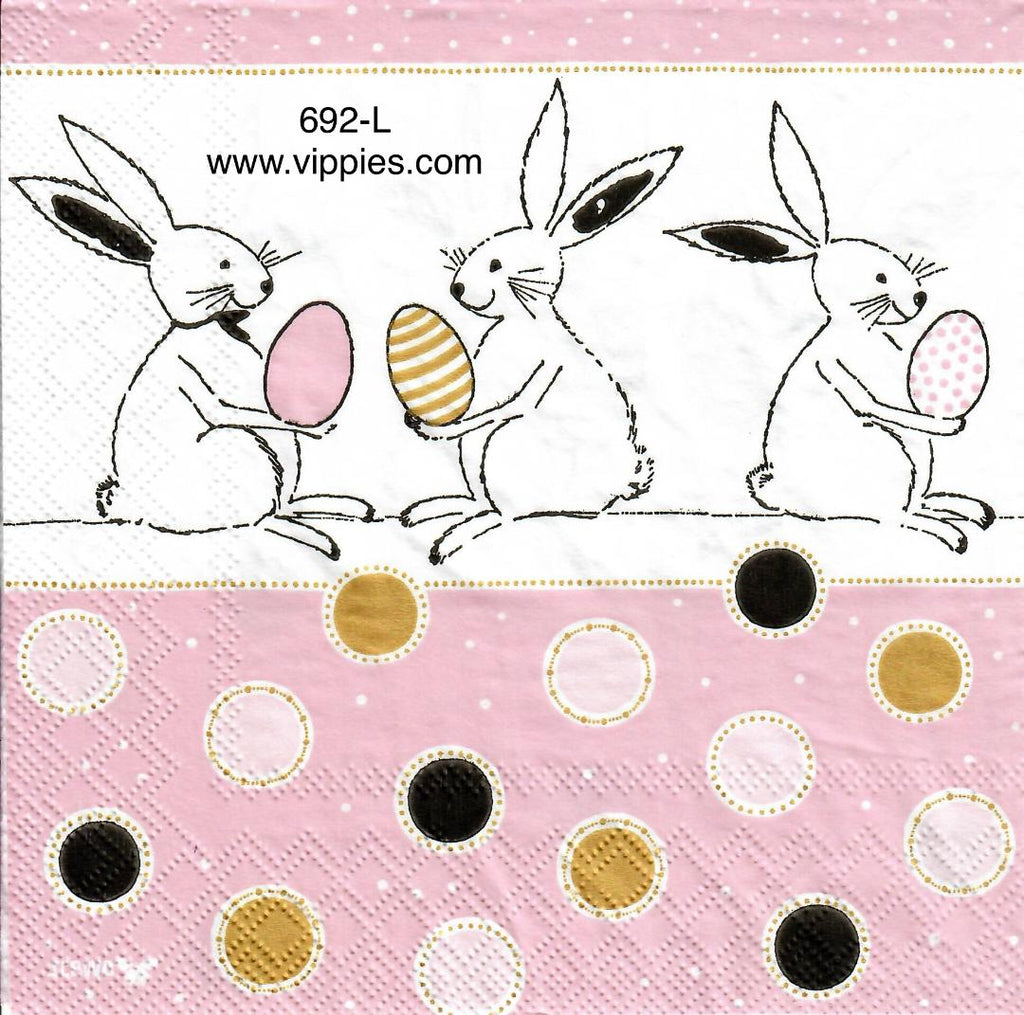 EAST-692 Bunnies Holding Eggs Dots Napkin for Decoupage