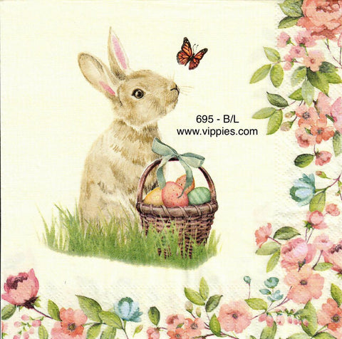 EAST-695 Bunny Basket Butterfly Napkin for Decoupage