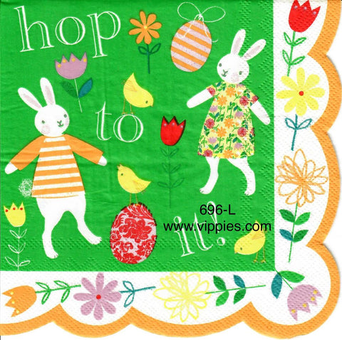 EAST-696 Hop To It Bunnies Napkin for Decoupage