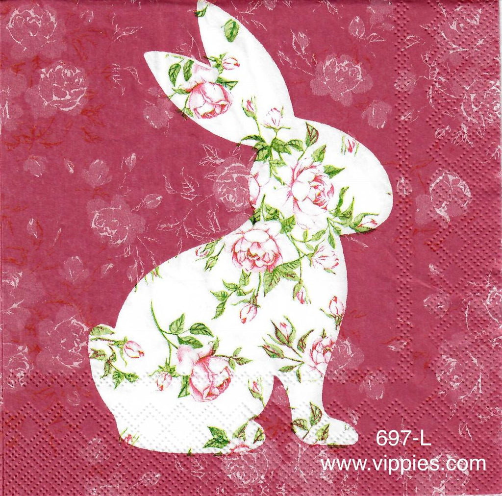 EAST-697 Bunny Roses Napkin for Decoupage
