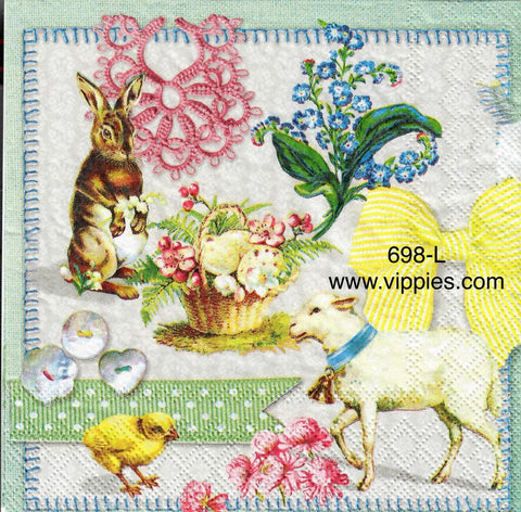 EAST-698 Easter Collage Napkin for Decoupage