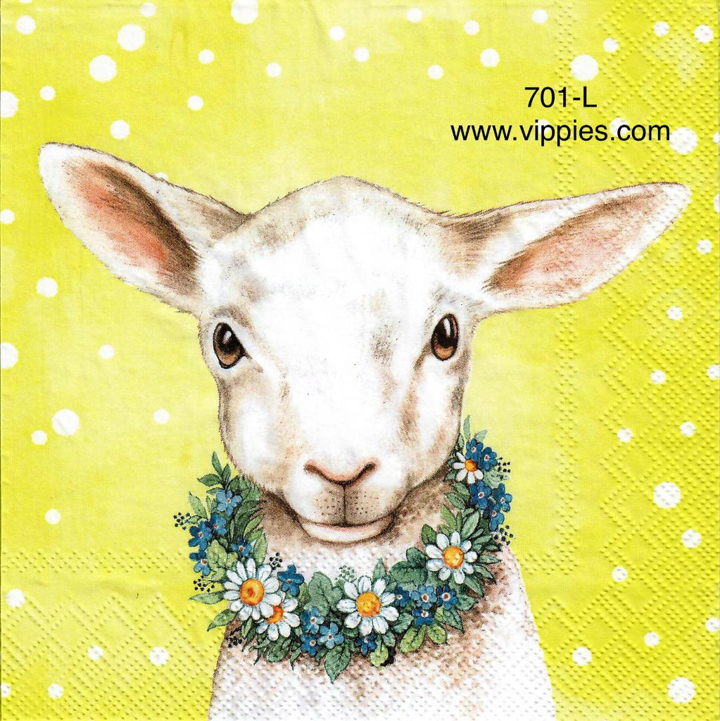 EAST-701 Lamb with Flower Collar Napkin for Decoupage