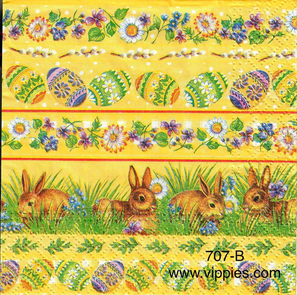 EAST-707 Easter Horizontal Designs on Yellow Napkin for Decoupage
