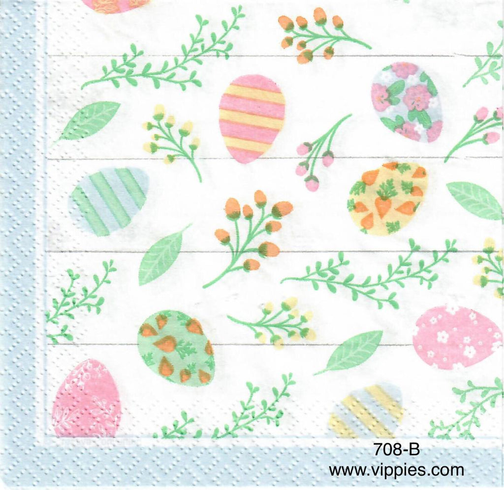 EAST-708-L Pastel Eggs on Yellow Napkin for Decoupage
