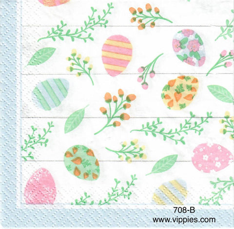 EAST-708 Pastel Eggs on Yellow Napkin for Decoupage