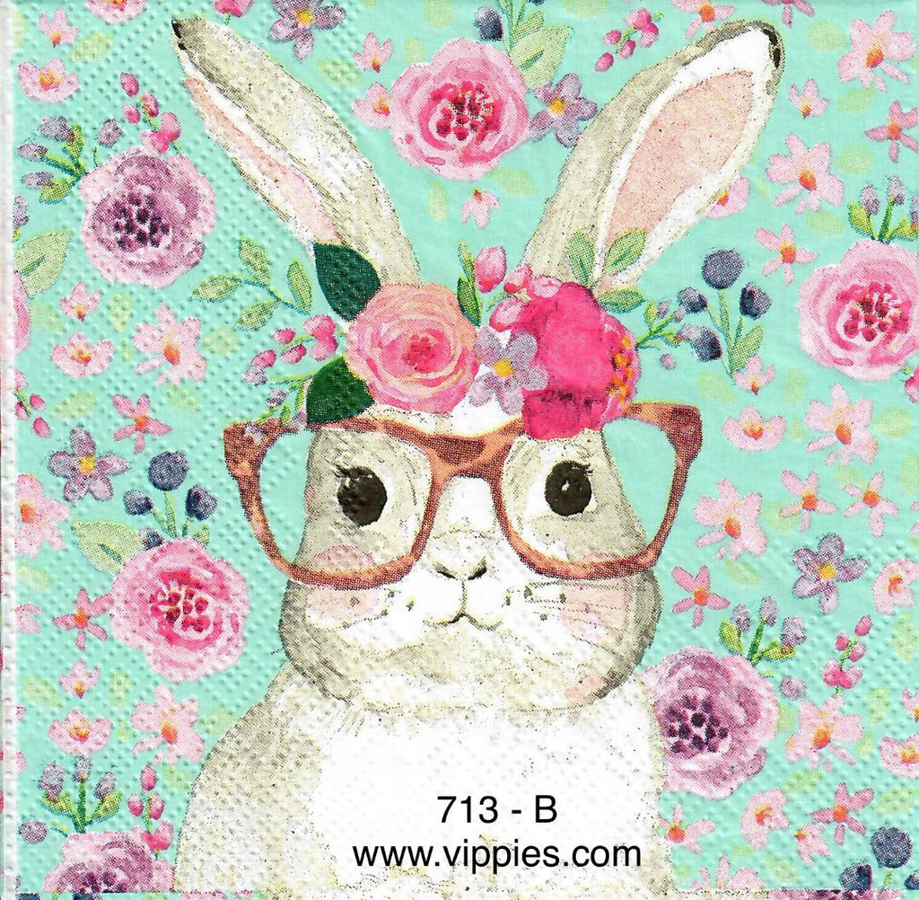 EAST-713 Floral Bunny Glasses Napkin for Decoupage