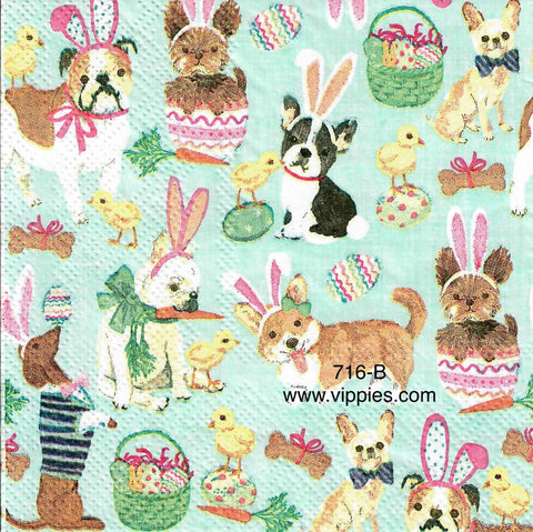 EAST-716 Dogs as Bunnies Napkin for Decoupage