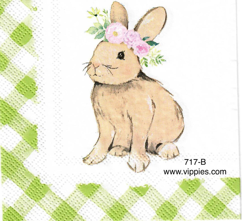 EAST-717 Bunny Green Gingham Napkin for Decoupage