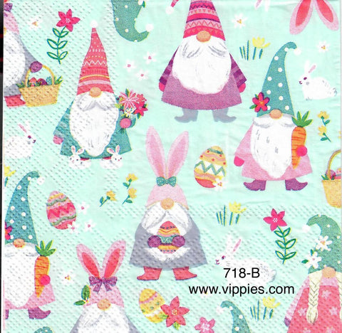 EAST-718 Gnomes as Bunnies Napkin for Decoupage
