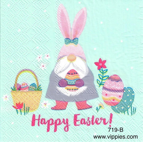 EAST-719 Happy Easter Bunny Gnome Napkin for Decoupage