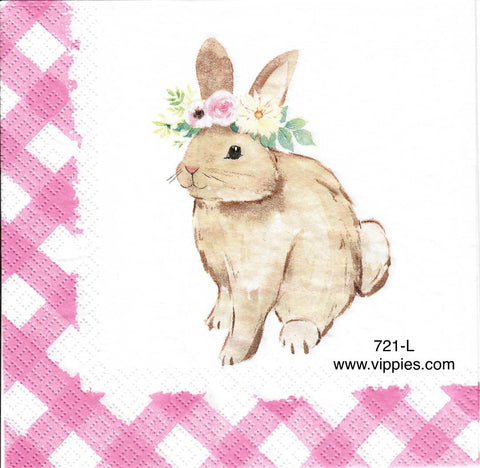 EAST-721 Bunny w Pink Checks Napkin for Decoupage