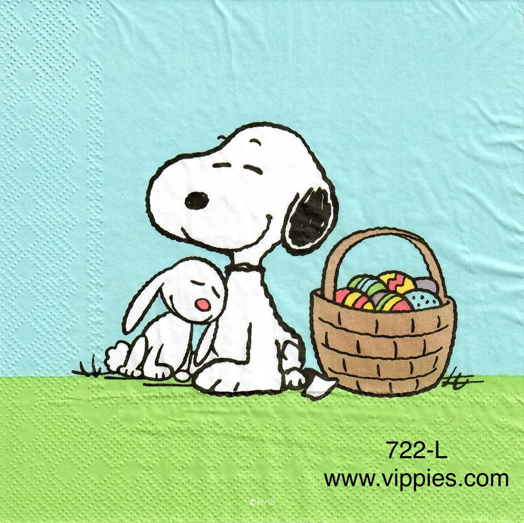EAST-722 Snoopy w Bunny and Basket Napkin for Decoupage