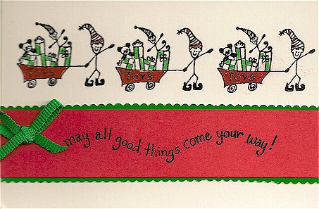 Elf with Toys Rubber Stamp 2148E