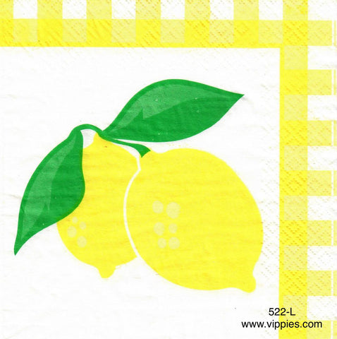 FD-522 Lemons with Lattice Border Napkin for Decoupage