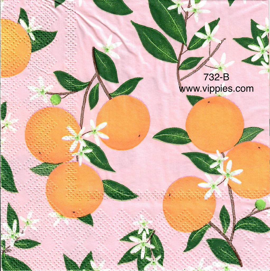 FD-732 Oranges on Pink Napkin for Decoupage