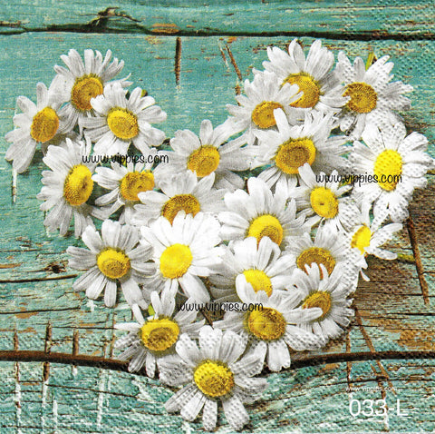 FL-033 Daisy Heart Napkin for Decoupage