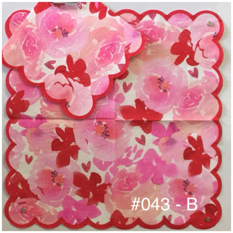 FL-043 Red Pink w Scallops Napkin for Decoupage