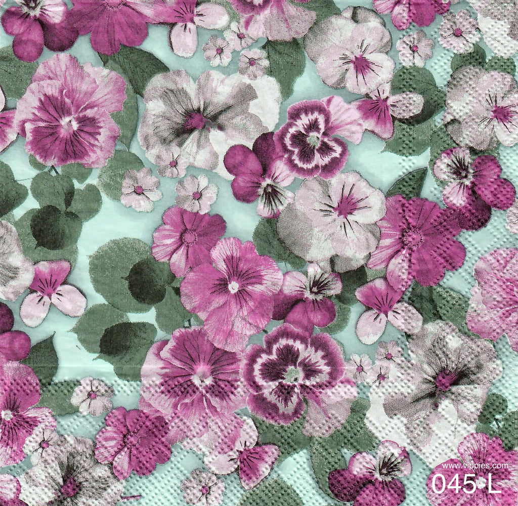 FL-045 Purple Pansy Napkin for Decoupage