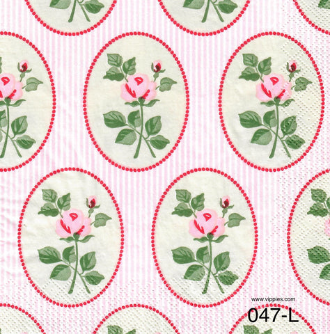 FL-047 Pink Roses Floral Napkin for Decoupage