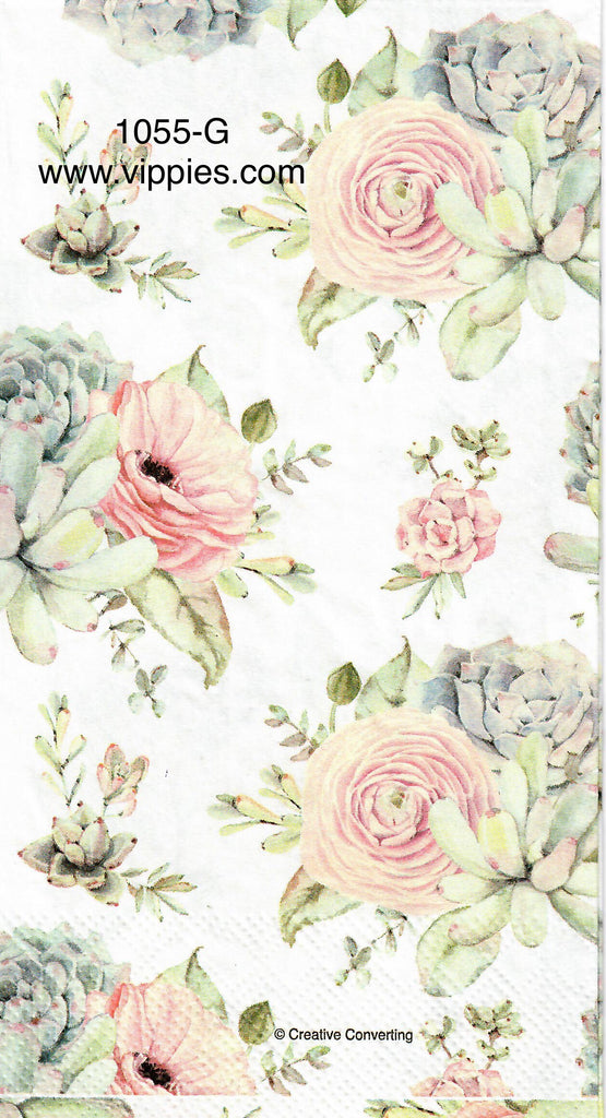 FL-1055 Soft Pink Florals Guest Napkin for Decoupage