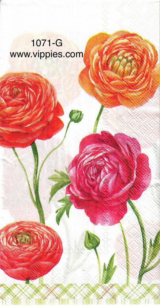 FL-1071 Orange Red Peonies Guest Napkin for Decoupage