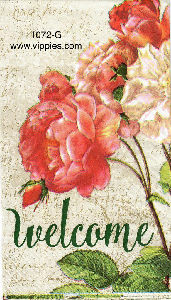FL-1072 Welcome Roses Guest Napkin for Decoupage