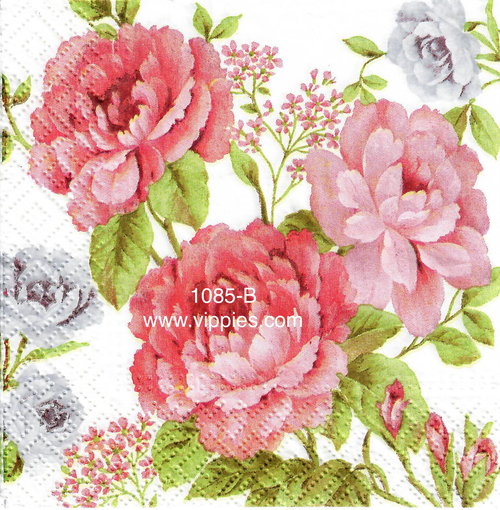 FL-1085 Pink Ruffle Rose Napkin for Decoupage