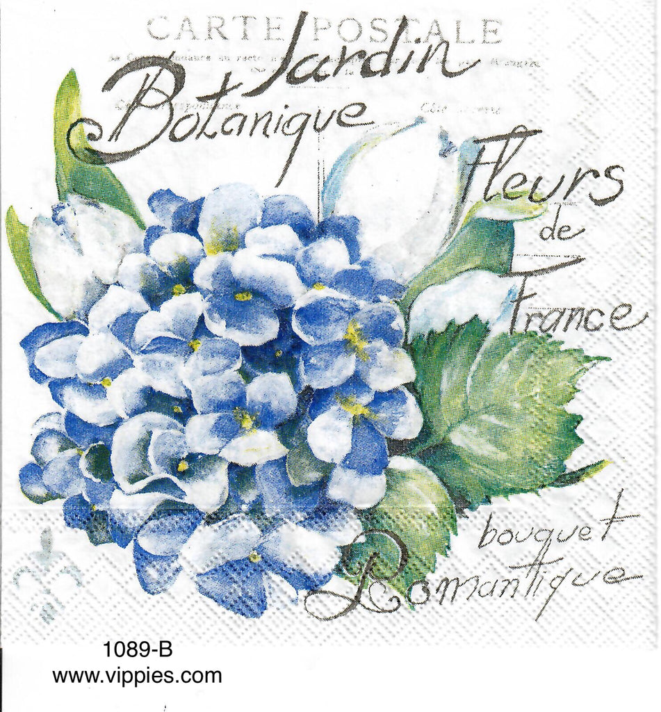 FL-1089 French Hydrangea Napkin for Decoupage