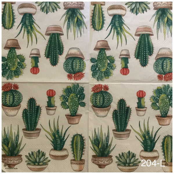 FL-204 Cacti Napkin for Decoupage