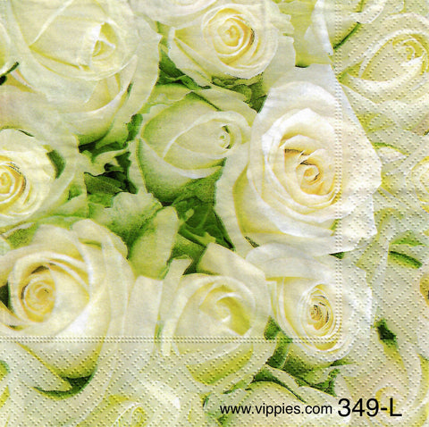 FL-349 White Roses Napkin for Decoupage