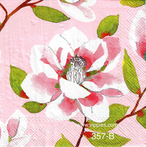FL-357 Pink & White Flowers Napkin for Decoupage
