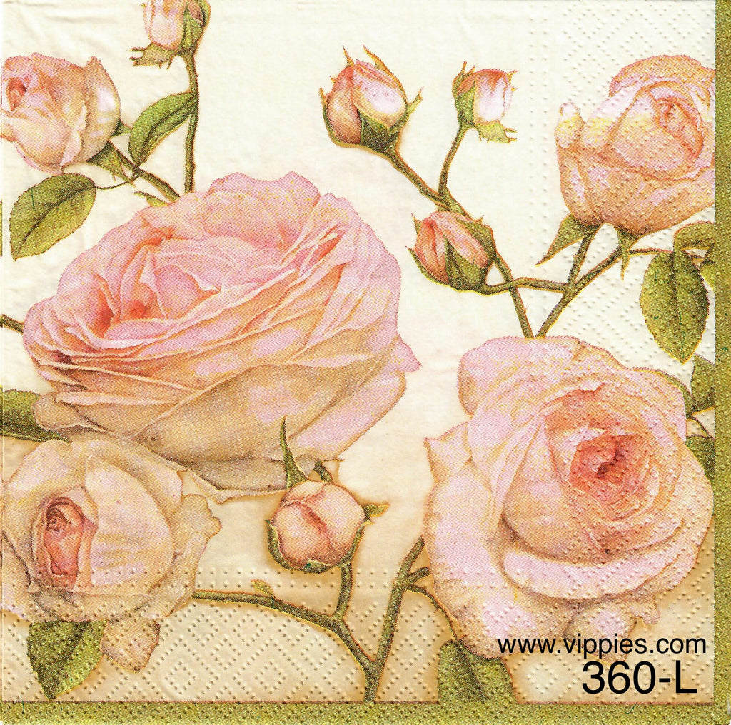 FL-360 Pink Roses and Buds Napkin for Decoupage
