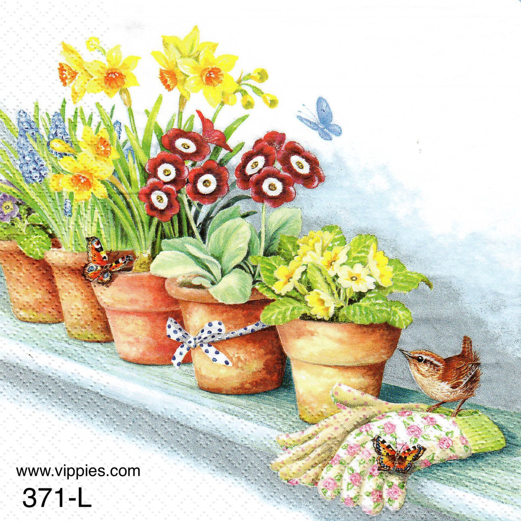 FL-371 Windowsill Flowerpots Napkin for Decoupage