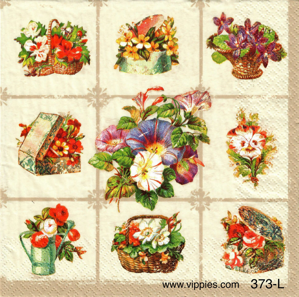 FL-373 Patchwork Pansies Napkin for Decoupage