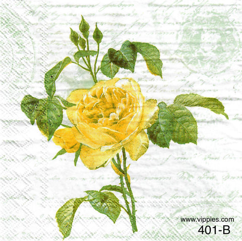 FL-401 Yellow Rose Napkin for Decoupage