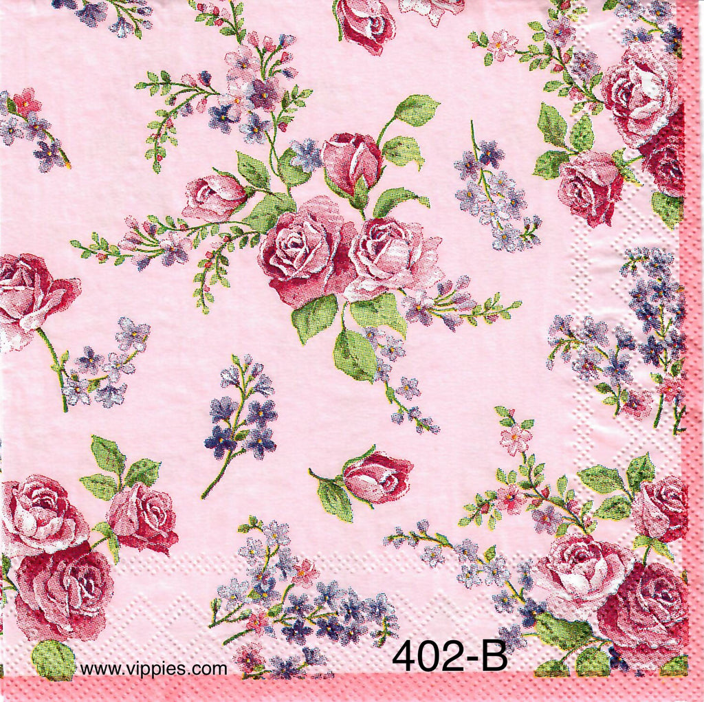 FL-402 Pink Roses and Lilacs Napkin for Decoupage