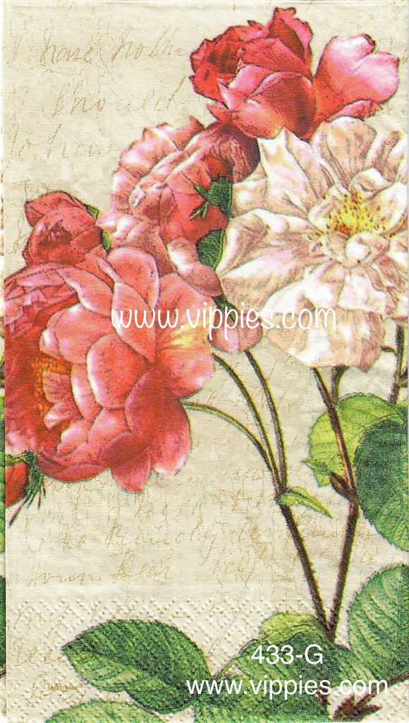 FL-433 Faded Roses Guest Napkin for Decoupage