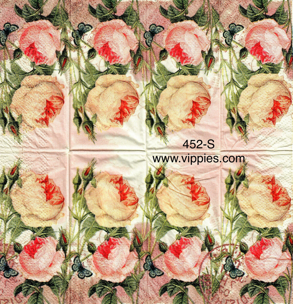 FL-452 Pink Roses Sniffer Napkin for Decoupage