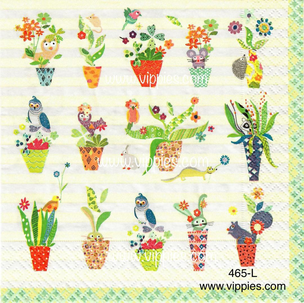 FL-465 Flower Pots Napkin for Decoupage
